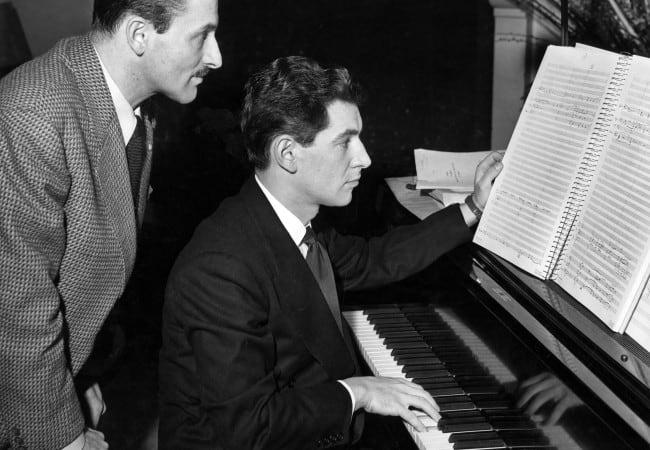 Marc Blitzstein (left), Leonard Bernstein (circa 1945)