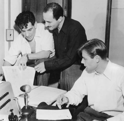 Marc Blitzstein, 1946 Shown from left: conductor Leonard Bernstein, composer Marc Blitzstein, narrator Robert Shaw NB: at recording of Airborne Symphony, New York City Center in June