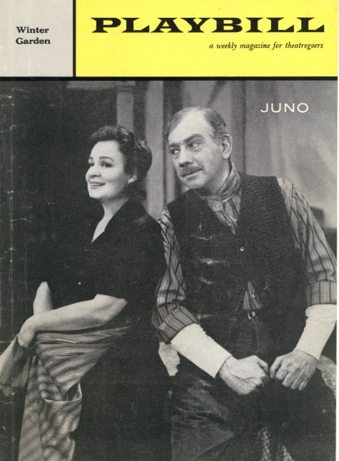 Playbill cover for the Broadway production of Juno, starring Shirley Booth and Melvyn Douglass, Directed by José Ferrer.