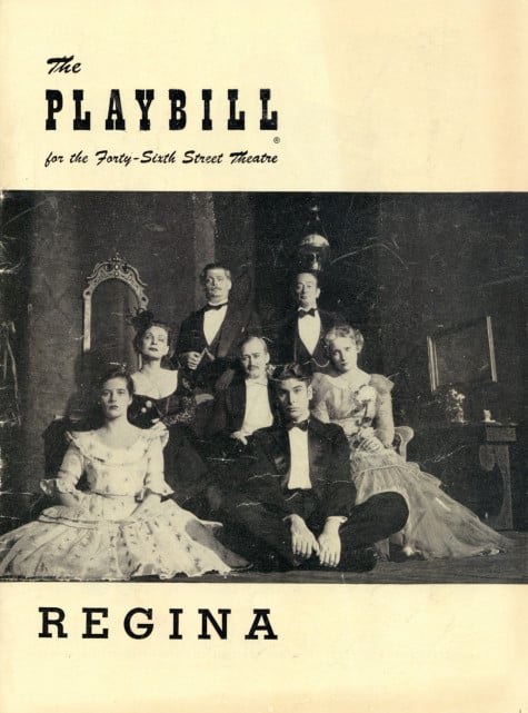 Playbill cover for the Broadway production of Regina
